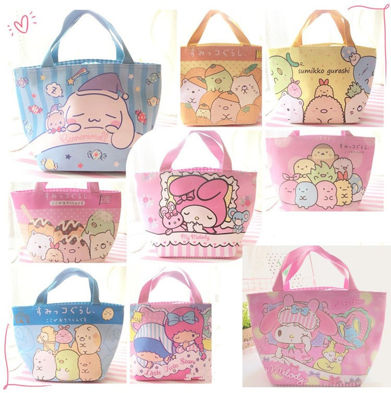 Sumikko Gurashi My Melody Little Twin Stars Fashion Girls Kids Zipper Portable Lunch Bag Cartoon Picnic Food Box Storage Handbag