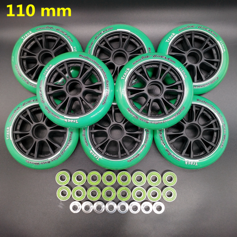Free Shipping Speed Skates Wheel 110 Mm Green Color Abec-9