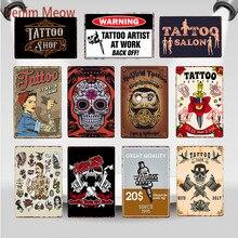 Estudio de tatuaje clásico Metal estaño signo Vintage pared arte Placa de pintura tienda de tatuajes habitación antigua decoración salón decoración del hogar WY86