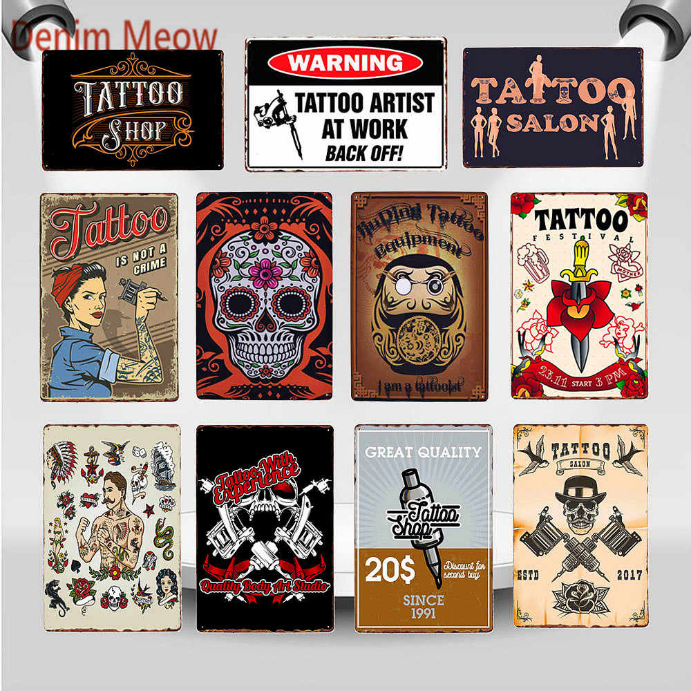 vintages tattoos metal wall sign