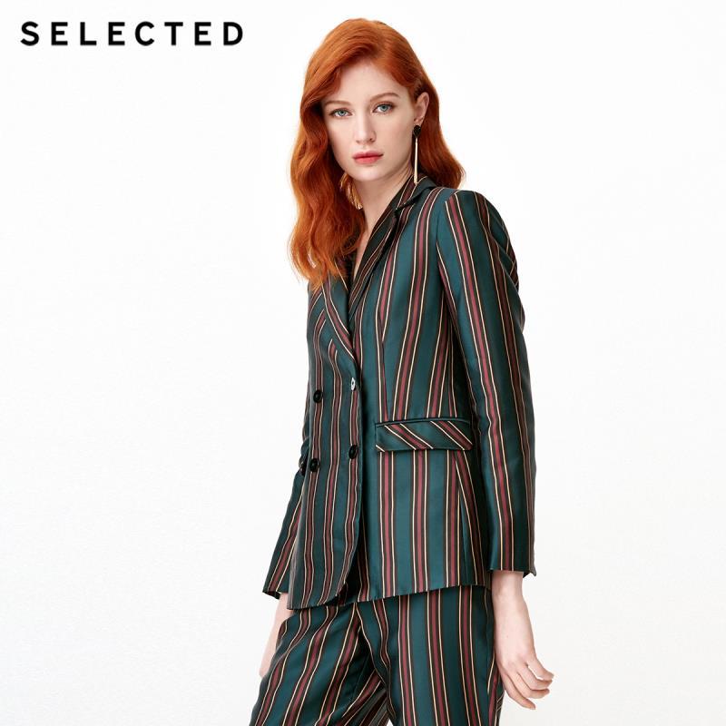 SELECTED Women's Spring Blazer Wide Stripe Suit Jacket S|419172505