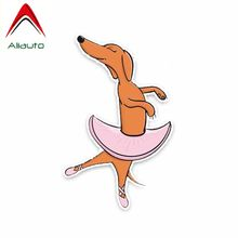 Aliauto Funny Car Sticker Dachshund Dog Ballet Decoration Vinyl Decal Cover Scratches for Volkswagen Kia Ford Focus ,14cm*9cm(China)