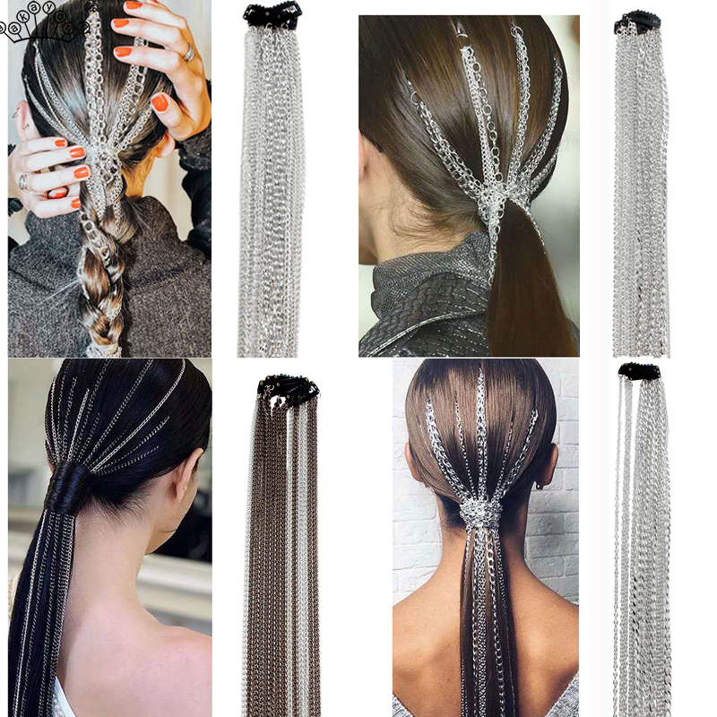 Bohemian Aluminum Silver Hair Extensions Clip Multi strand Long Tassel Chain Bridal Wedding Accessories Headwear
