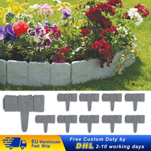 Flower-Border-Decorations Palisade Edging Lawn Fence Plastic Faux-Stone Plant Yard Cobbled-Stone-Effect