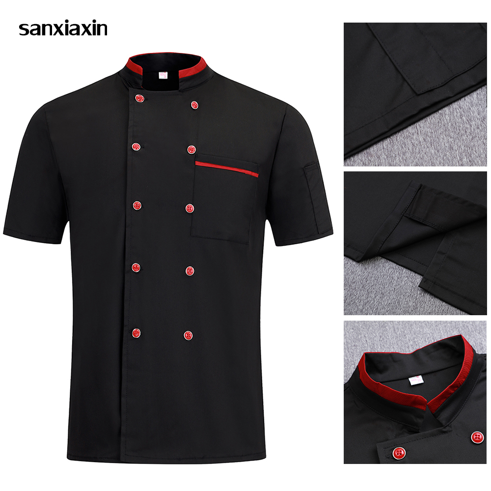 Unisex Short Sleeves Double Breasted Chef Uniforms Shirts Food Service Restaurant Catering Jackets Black&white Work Clothes Men