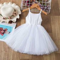 Vestido de 3 a 8 años para niña, vestido de novia sin mangas, chaleco para niña, vestidos de fiesta, vestido blanco completo, vestido de bautizo y comunión