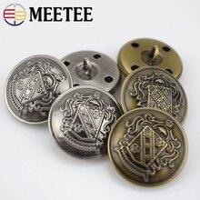 MEETEE 10Pcs Antique Silver Copper Metal Button Retro Jeans Coat Jacket Buttons Clothes Decorative Buckle Accessories B3-13