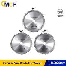 Lame de scie circulaire pour le bois, diamètre 160mm, 48T, fonction utilitaire, TCT disque de coupe de 60T 80T