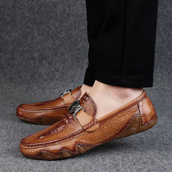 2020 New Crocodile Skin Loafer Shoes Men Genuine Leather Slip-on Moccasins Handmade Man Casual Shoes Drive Walk