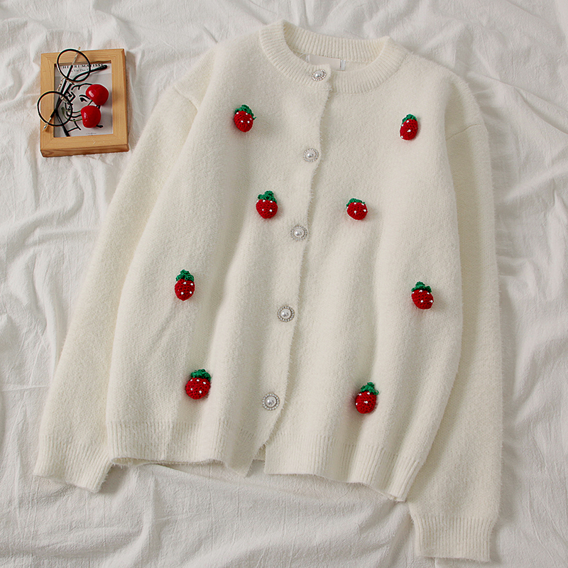 Women's Strawberry Cardigans Sweet Girls Strawberry Sweaters Femme Knitted Cardigans