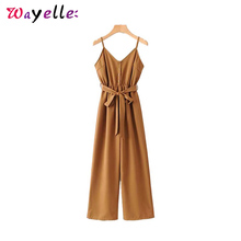 Sexy V Neck  Bodysuit Women Elastic Waist Sashes Sleeveless Adjustable Jumpsuits  2019 Straps Vintage Overalls Chic Playsuits coffee round neck elastic waist jumpsuits