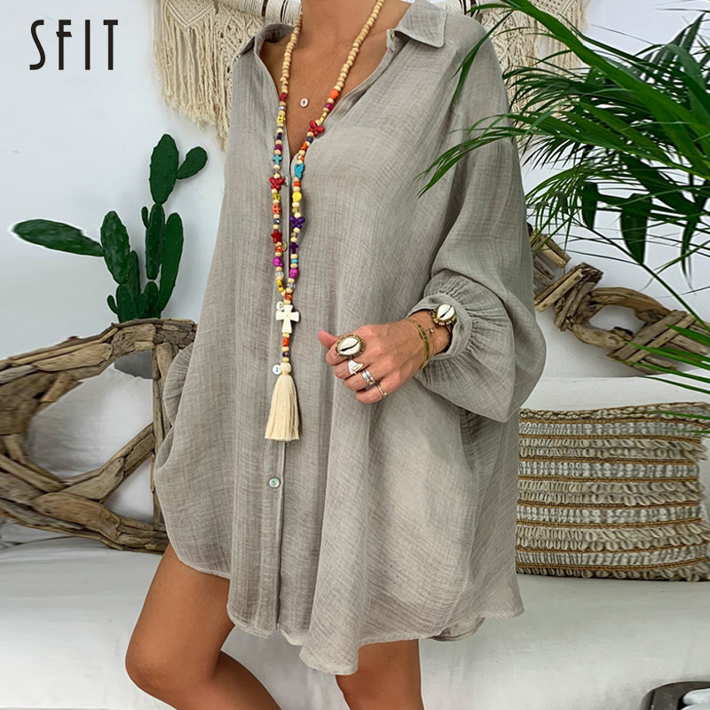 SFIT Cotton Linen Womens Tops And Blouses Plus Size Long Sleeve Turn Down Collar Female Tunic Beach Autumn Shirts Casual Blusas