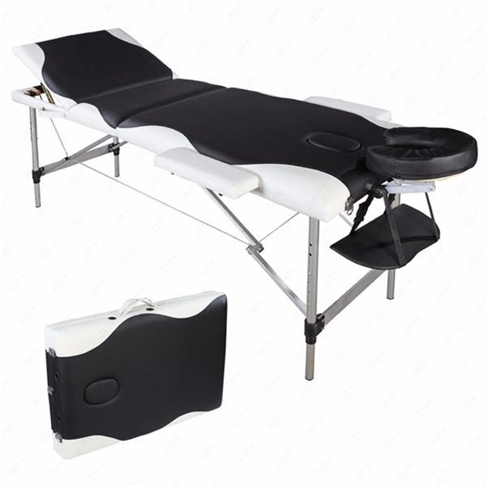 3 Sections Folding Aluminum Tube SPA Bodybuilding Massage Table Black With White Edge Beauty Bed Massage Table