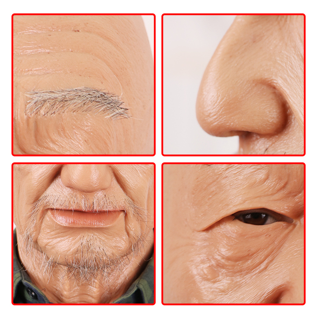 EYUNG Old William High Quality Realistic Silicone Mask-s, Old Man Masquerade For April Fool's Day Full Head Tricky M-ask props 5