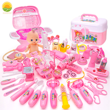 20-39Pcs Doctor Toy Girl Nurse Games Set Kid Role Play Medical Dentistry Uniform Costume Suitcase Education for Children Gifts