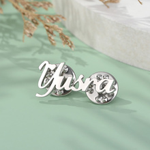 Brooch-Pin Badges Lapel-Pins Stainless-Steel Custom Rose-Gold-Color Letter for Women