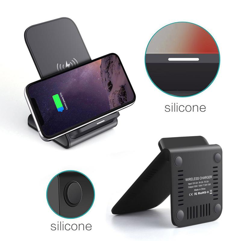 Adapter - Mobile Phone Wireless Chargers 15W Qi Wireless Charger Stand For iPhone Samsung Fast Charging Dock Station Phone Charger FDGAO