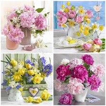HUACAN-Cuadro de flores elaborado con diamantes de imitación, Mosaico hecho a mano, decoración del hogar