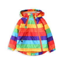 Colorful Striped Warm Fleece Baby Girls Boys Jackets Fashion Child Coat Windproof Children Outerwear Kids Outfits For 90 140cm