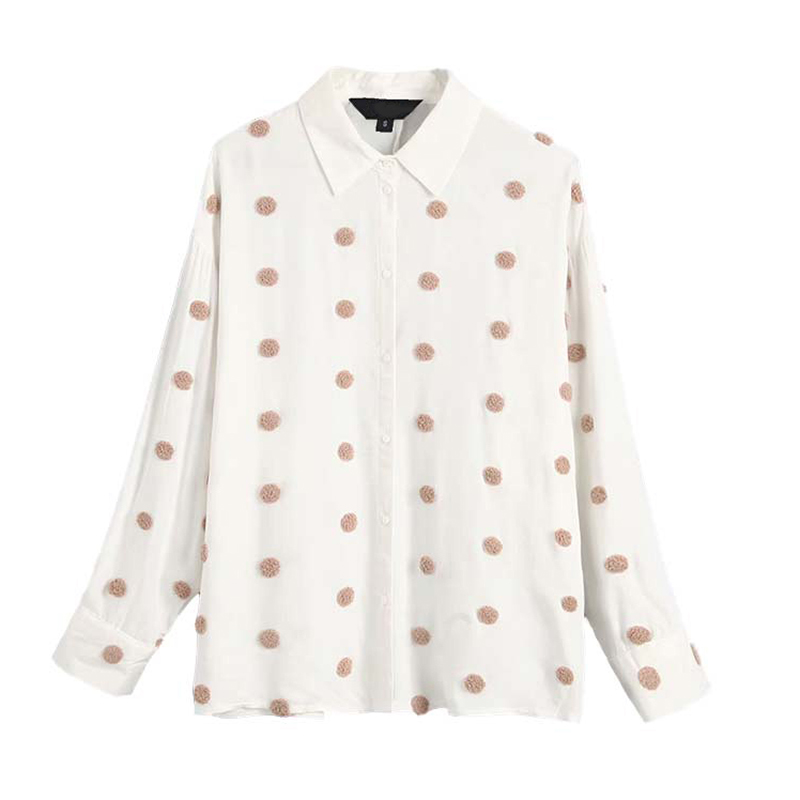 Blouse Shirt Women Embroidery Dot Top Turn Down Collar Shirt Autumn Long Sleeve Business Blouse Casual Twill Tunic Female Tops