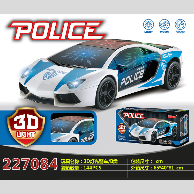Hot Sales Ld-109b New Style CHILDREN'S Toy Model Electric 3D Cool Lights Police Car