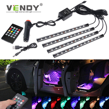 4pcs Auto LED RGB Interior Atmosphere Strip Light Decorative Lamp For The Car With USB Wireless Music Control Multiple Modes