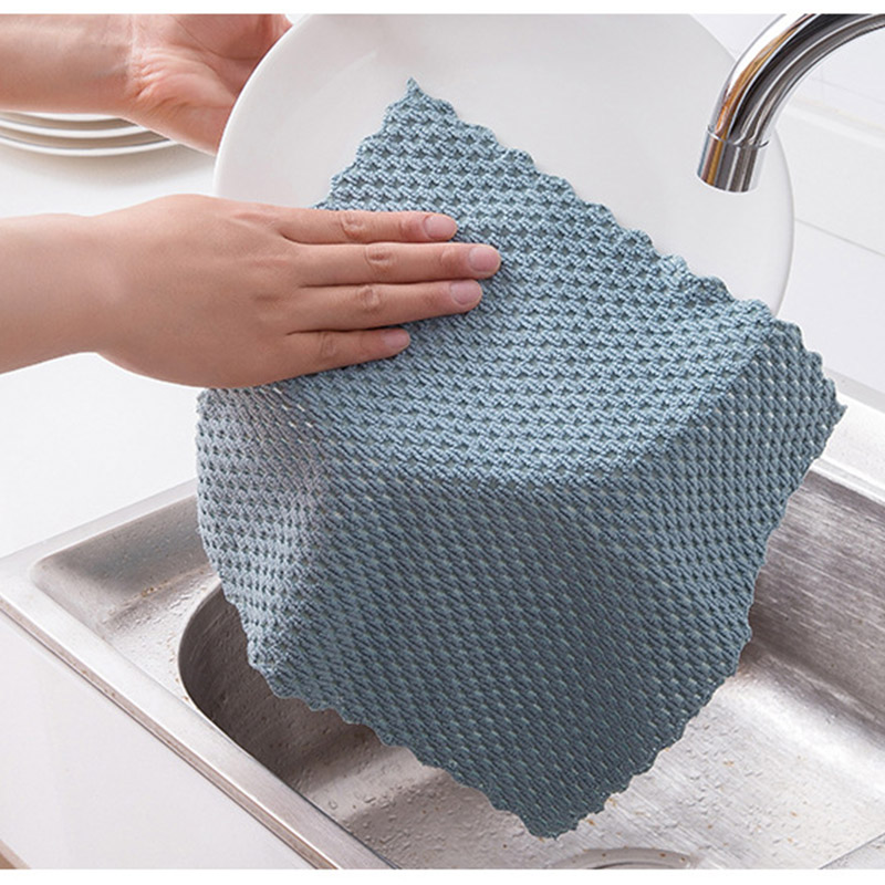 4Color Polyester/Nylon Super Absorbent Cleaning Towel Multifunctional Home Washing Dish Kitchen Supplies Wiping Rags