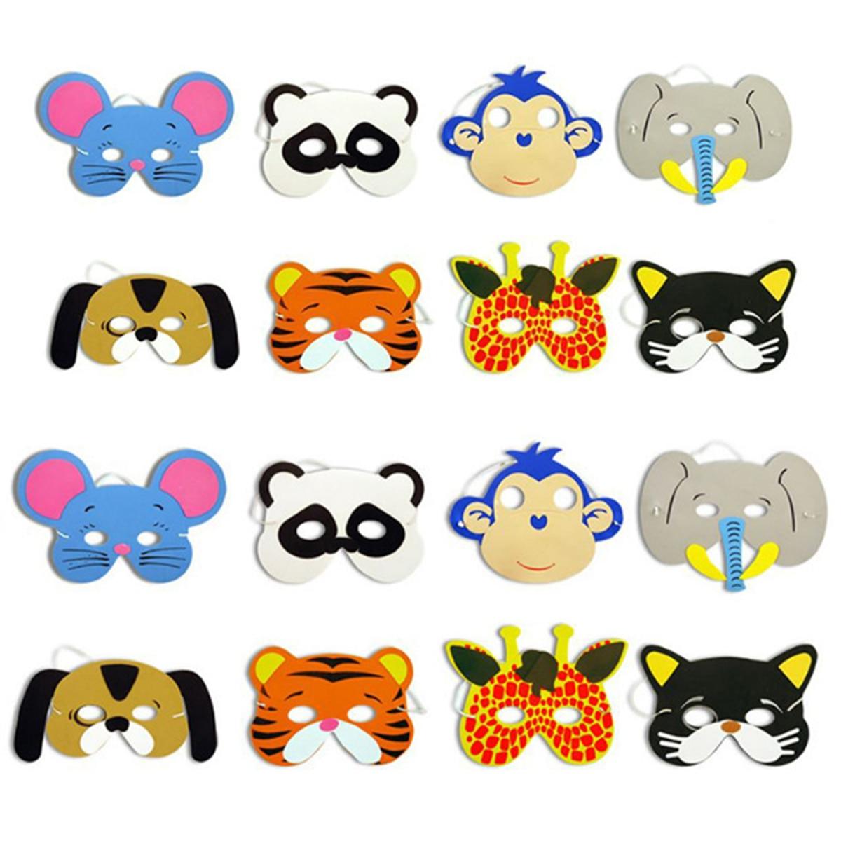 12pcs Mask Birthday Party Supplies EVA Foam Animal Masks Cartoon Kids Party Dress Up Costume Zoo Jungle Mask Party Decoration