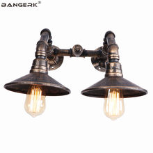Double Vintage Wall Lamp LED Industrial Valve Water Pipe Wall Light Bedside Loft Deco Edison Lights Wall Sconce Home Lighting(China)