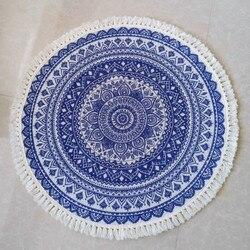Cilecté nordique rond tapis pour salon coton lin Boho gland petits tapis tapis de sol anti-dérapant prière Mandala tapis