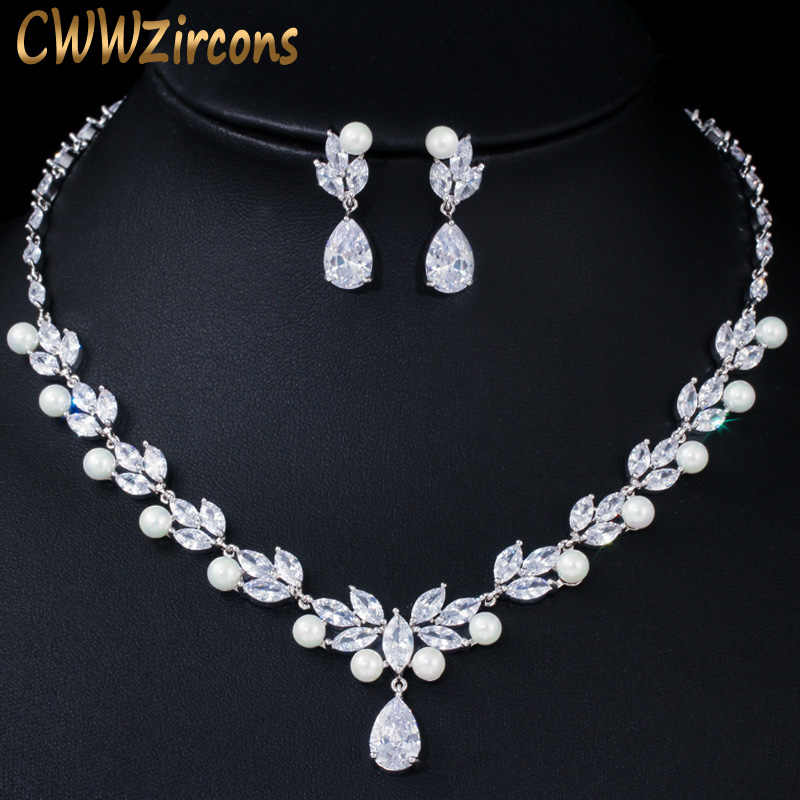 CWWZircons Elegant Dangle Drop Cubic Zirconia Leaf Flower Big Pearl Necklace Earrings Bridal Wedding Jewelry Sets for Women T362