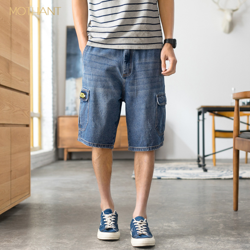 Japanese Harlan Five Points Jeans Male Loose Badges Elastic Organ Bag Denim 5 Pants Men's Japanese Style Pants Fashion Jeans