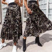 Winter Rock Frauen Vintage Leopard Plissiert Röcke Womens Casual Damen Hohe Taille Lange Rock Herbst faldas mujer moda 2019 D35