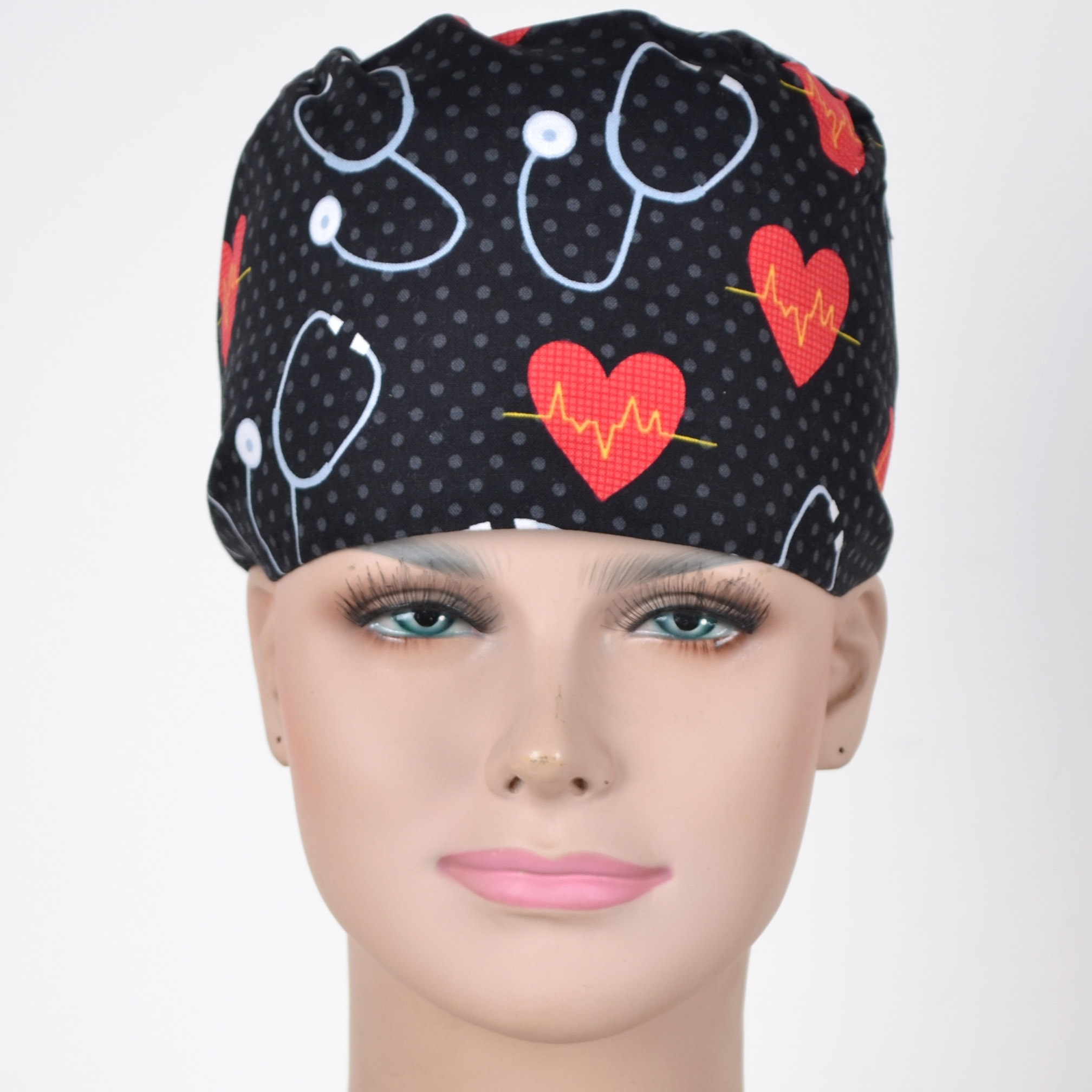 Hennar Unisex Scrub Caps For Men And Women,medical Caps In Black With Hearts And Stethoscope Prints,3 Sizes Surgical Caps