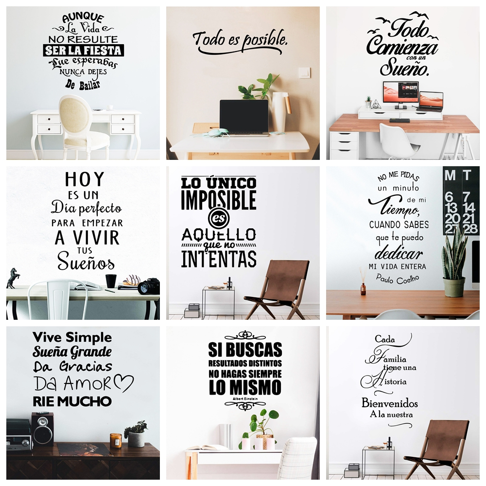 NEW Spanish Sentences Wall Stickers Vinyl Decal For Room Decoration Wall Decals Sticker Frase Wallpaper Poster Mural