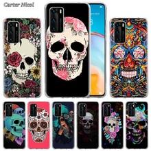 Flower Skull Silicone Case for Huawei P40 Pro+ P20 P30 Lite P20 Pro p10 p20 p30 P40 Lite P Smart Pro 2019 Cover marvel comic batman silicone case for huawei p40 pro p20 p30 lite p20 pro p10 p20 p30 p40 lite p smart pro 2019 cover