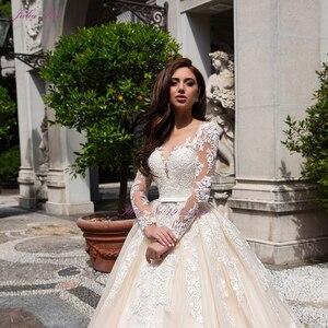 Image 3 - Julia Kui de boda de lujo de color champán, vestido de novia de línea A con escote redondo de capilla, vestido de novia de manga larga