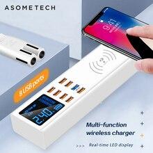 8 포트 무선 빠른 충전 3.0 안 드 로이드 아이폰 어댑터에 대 한 디지털 디스플레이 usb 충전기 xiaomi 화 웨이 삼성에 대 한 빠른 충전기