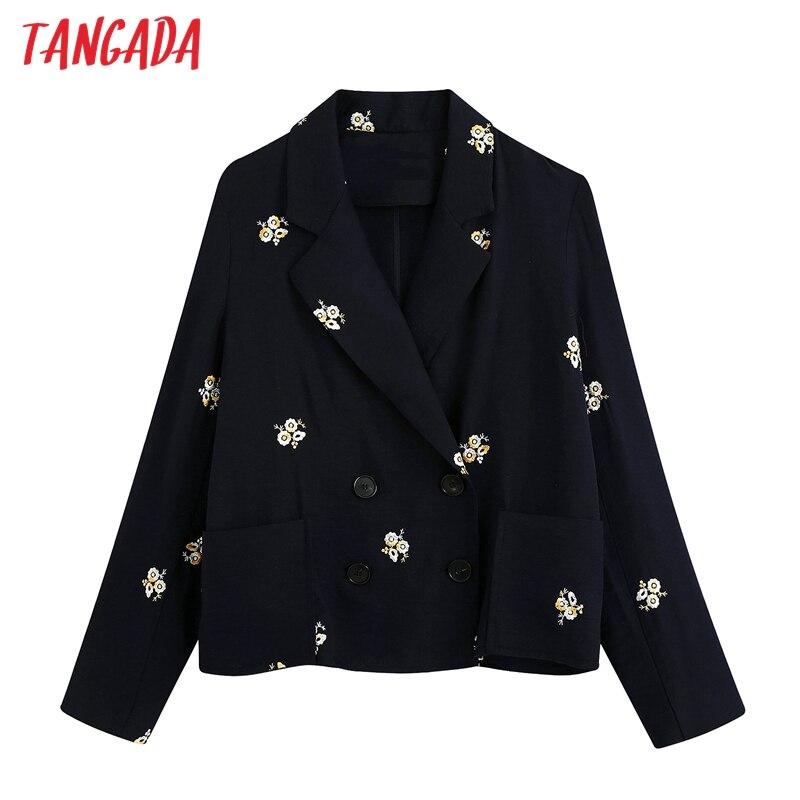 Tangada Women Embroidery Floral Blazer Female Long Sleeve Elegant Jacket Ladies Black Blazer Formal Suits BE681
