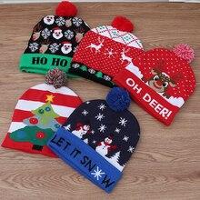 Светодиодный Рождественский головной убор, шапочка, свитер, Рождественская Шляпа Санты, светящаяся вязаная шапка для детей, взрослых, для рождественской вечеринки