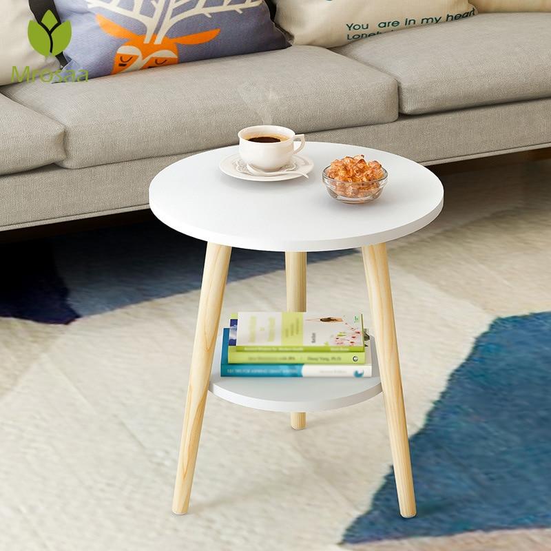 Mesa de centro redonda baja de madera nórdica creativa mesa de almacenamiento sucia bandeja de servicio de aperitivos de frutas de té cama sofá de sala de estar