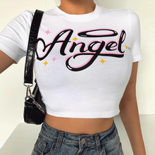 Women Angel Letter Printed Tees Summer Fashion Short Sleeve T-Shirts Slim Crop Top Casual Outdoor Dance Knot Short Tops New