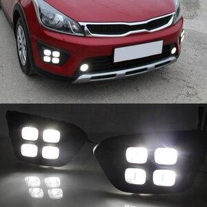 Image 4 - Auto 12V DRL Tag Lichter Lampe Für Russland KIA RIO X Linie 2018 2019 Auto Fahren Tagfahrlicht lichter auf Auto DRL Super Helle