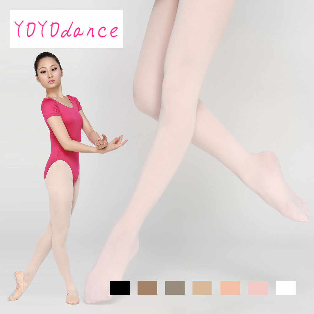 Tan Ladies Footed Microfibre Dance Tights in Pink Black or White