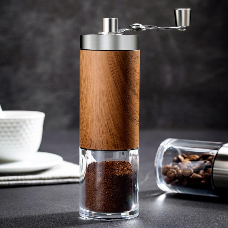 Wood Grain Coffee Grinder Silver Mini Stainless Steel Hand Manual Handmade Coffee Bean Burr Grinders Mill Kitchen Tool Grinders