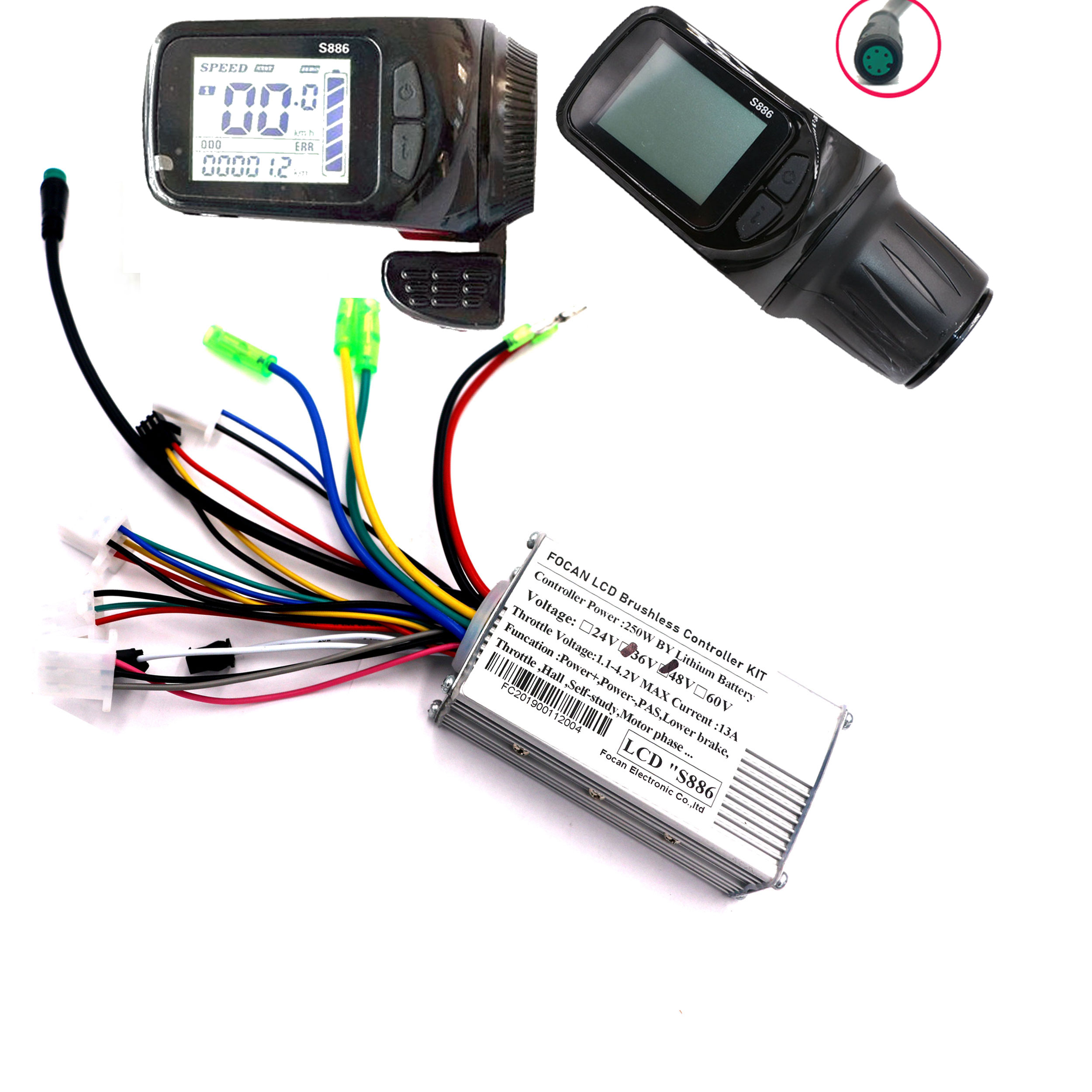 FOCAN 36V 48V 250W Electric Waterproof Bicycle Brushless Controller Kit Scooter Motor Controller With LCD Display Panel Control