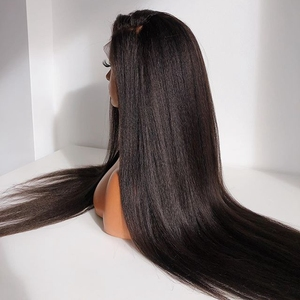 Image 3 - Fantasy Beauty Yaki Straight Lace Front Synthetic Wigs Long Straight Heat Resistant Hair Pre Plucked Wig with Natural Hairline