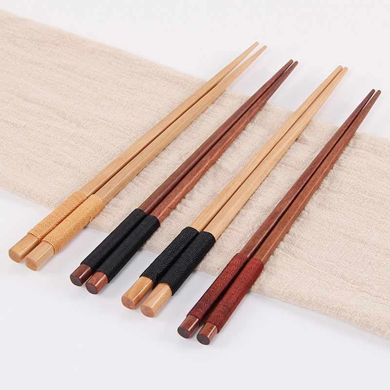 Feito à mão japonês natural pauzinhos de madeira saúde sem laca cera utensílios de mesa louça sushi chinês gravata linha presentes de casamento