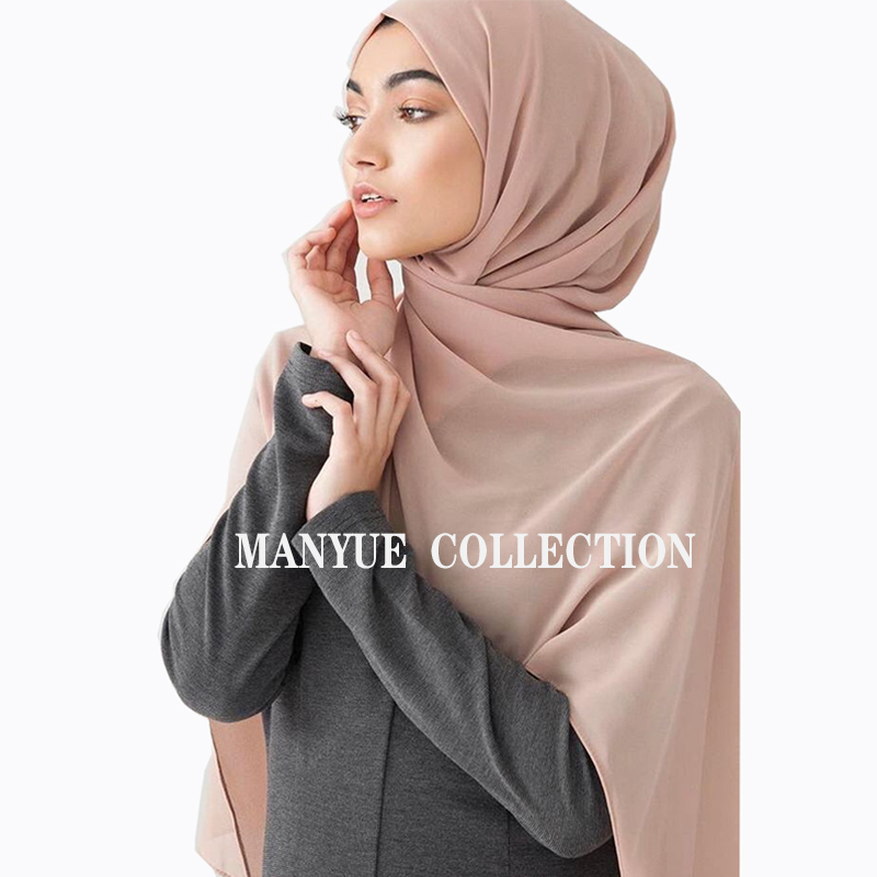 Image 2 - Muslim Hijabs Scarf Women Plain Bubble Chiffon Hijab Shawl Solid  Color Long Shawls and Wraps Head Scarves Ladies Foulard FemmeWomens  Scarves