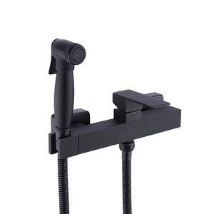 Image 1 - Латунный ручной распылитель для биде и душа с регулируемым клапаном и комплектом шлангов для душа 1,5 м, настенное крепление, матовый черный